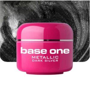 UV nagų gelis Base Metallic Dark Silver 5g