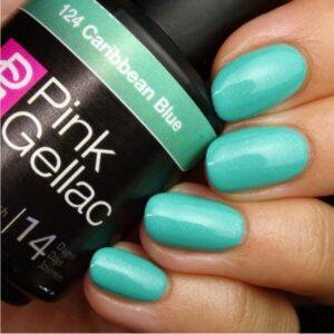Profesionalus ilgalaikis gelinis lakas Pink Gellac Caribbean Blue 15 ml