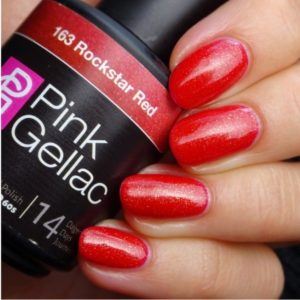 Profesionalus ilgalaikis gelinis lakas Pink Gellac Rockstar Red15 ml