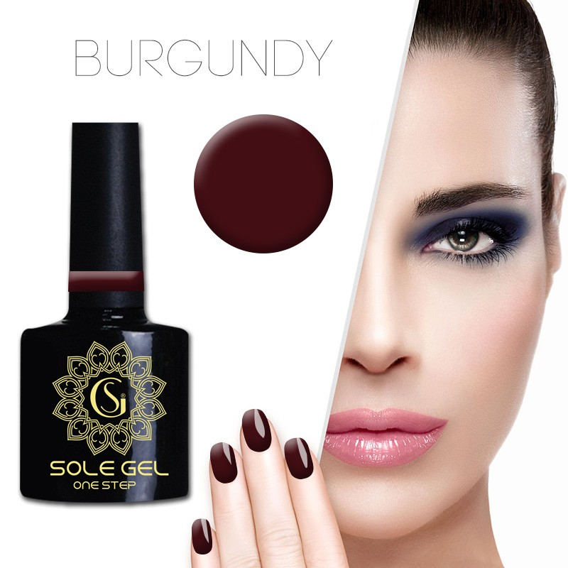 ONE STEP gelinis nagų lakas SOLE GEL BORDO 4