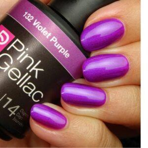 Profesionalus ilgalaikis gelinis lakas Pink Gellac Nr.132 Violet Purple15 ml