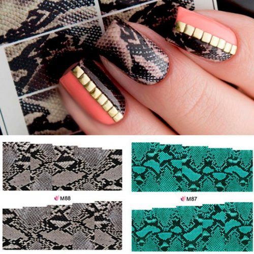 10pcs-Snake-Skin-Nail-Sticker-Black-Blue-Unique-Water-Decals-Nail-Art-Transfer-Sticker