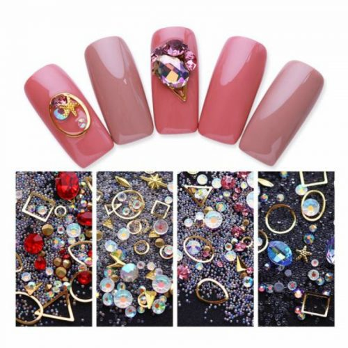 Colorful-Mix-Acrylic-Rhinestones-Alloy-Metal-Frame-Sticker-Manicure-3D-Nail-Art-DIY-Decoration